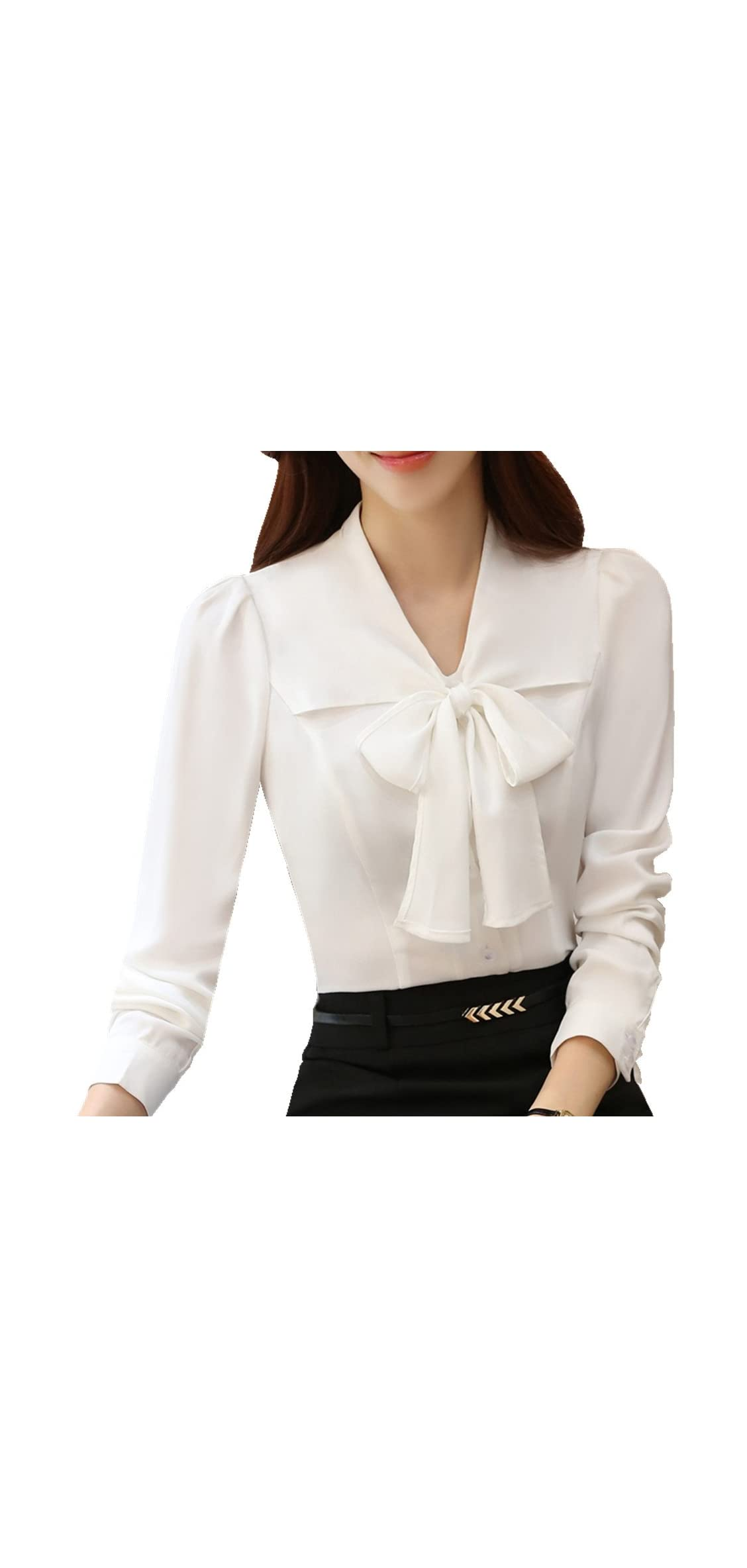 Womens Bow Tie Neck Blouse Long Sleeve Casual Work Office
