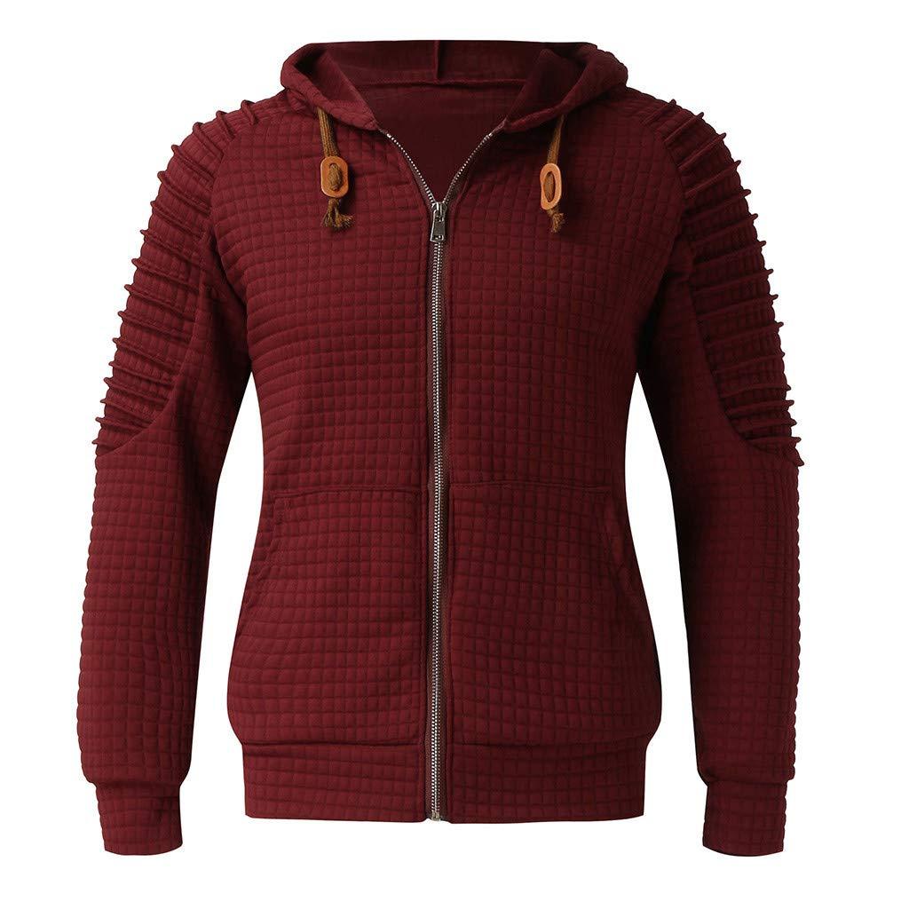 Hooded Sweatshirt,SMALLE◕‿◕ Men's Sweatshirt Hipster Gym Long Sleeve Drawstring Hooded Plaid Jacquard Pullover Hoodies Wine