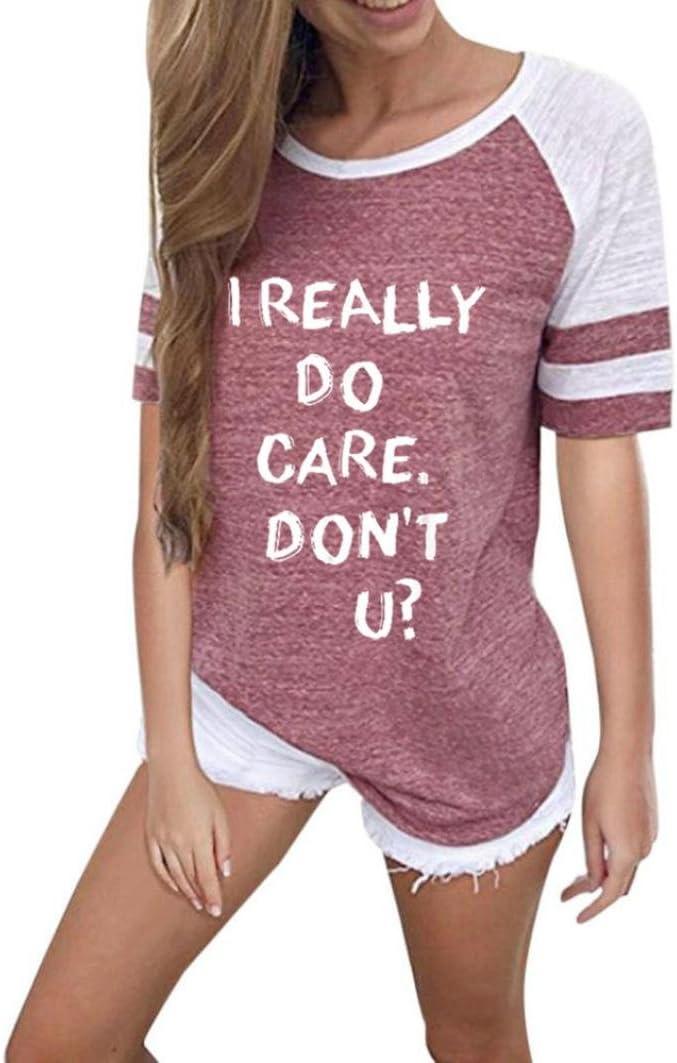 BZLine I Really Dont Care Do U Spielraum Mode Frauen Brief Drucken Kurzarm Splice Bluse Tops Kleidung T-Shirt