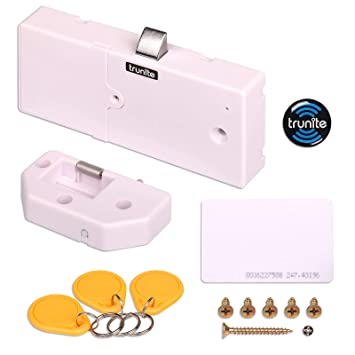 Trunite - Bloqueo para Armario, Tarjeta RFID, cajón Oculto, Mini Cerradura, batería de Larga duración, sin Llave, sin Agujero Perforado: Amazon.es: ...