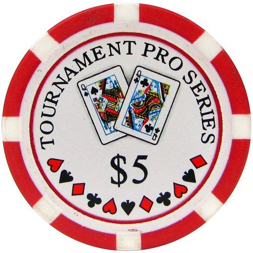 Trademark Poker Phil Hellmuth Junior Tournament Pro Series 5 Dollars Poker Chips (Set of 50), Red