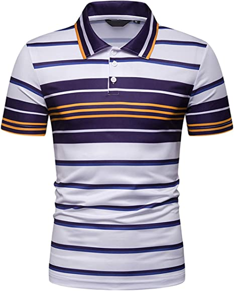 Pinkpum Polo Hombre Rayas Manga Corta Contraste Casual Golf Tennis ...