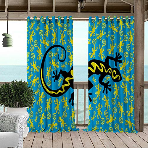 Gazebo Waterproof Curtains Reptile Hawaiian Exotic Lizard Dancing Many Mascots on Ground Fun Illustration Black Blue Yellow Porch Grommets Adjustable Curtain 84 by 96 inch