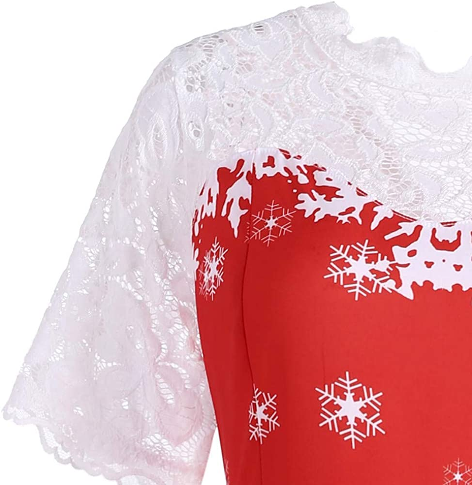 Vintage Dresses for Women for Christmas Short Sleeve Lace Patchwork Snowman Print Retro Hepburn Tea Dress for Ladies Teen Girls Fashion Evening Party Swing Dress Ball Gown Prom Cocktail Sale