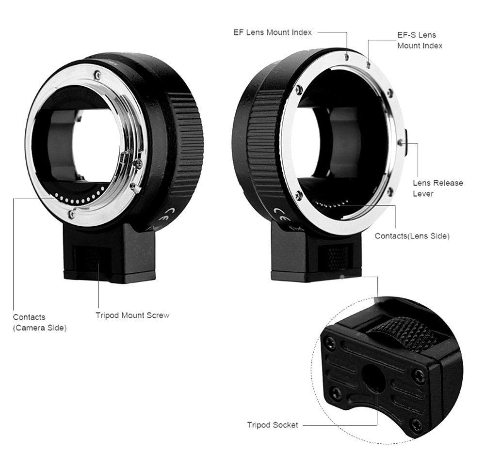 SLFCオートフォーカスef-nex ef-emountレンズマウントアダプタfor Canon EF EF - SレンズtoすべてSony EマウントカメラNEX 3 / 3 N / 5 N / 5r / 7 / a5000 / a6000 / a7 a7r / a7ii / a7rii   B01JTV6JLY