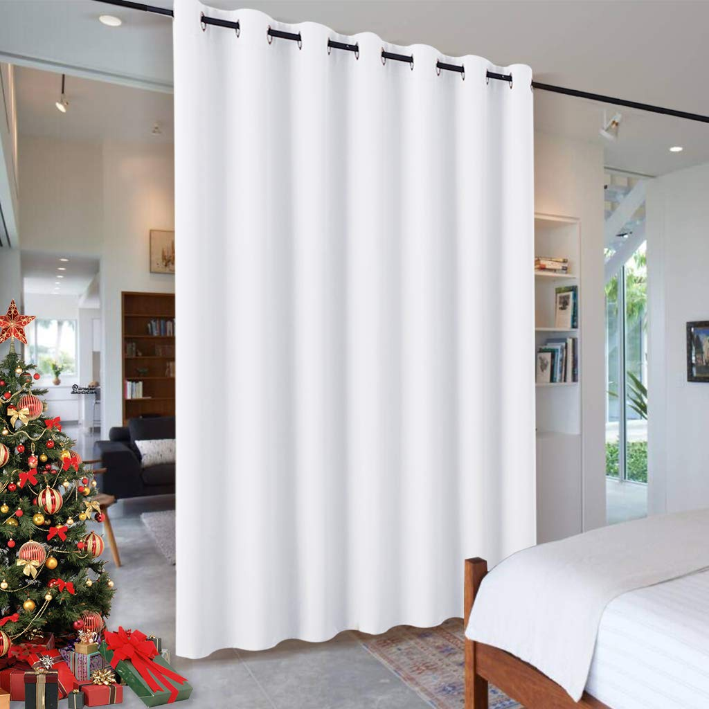 RYB HOME Room Drekening Curtain for Bedroom, Privacy Shades Curtain for Living Room Kitchen Dining Office, Thermal Insulated Drapes for Patio Door, 100 inches Wide x 84 inches Long, Pure White