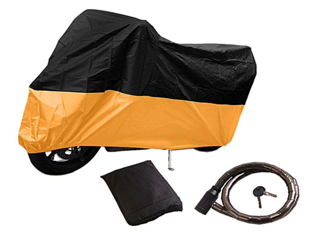 Tokept Waterproof Motorcycle Cover,All Weather Outdoor with Storage Bag,Fits Up to 108 inch Harley Davidson Honda Kawasaki Yamaha Suzuki And More,Free to Send a Lock (Black and Orange) by Tokept