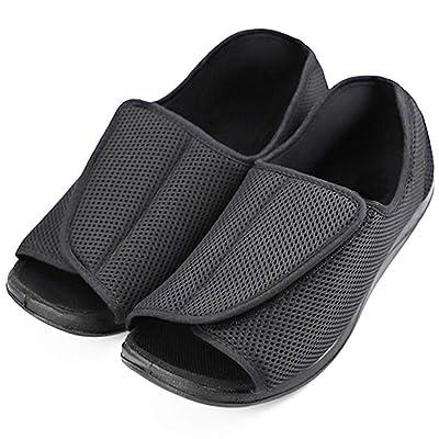 Men's Diabetic Shoes Swollen Feet Slippers Adjustable Strap Comfortable Orthopedic Wide Footwear Open Toe Sandals Easy On Off for Diabetic & Edema Elderly | Slippers