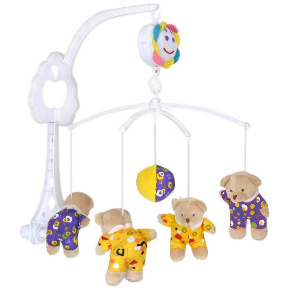 Baby Cot Mobile Musical Mobile with Musical Plush Bear Yellow/Blue Padgett Bros. G7793-13b