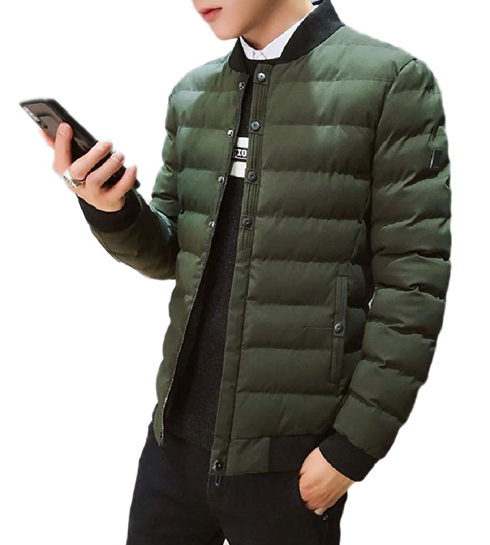 YUNY Mens Padded Puffer Quilted Coat Skinny Loose Thicken Warm Jacket Army Green M