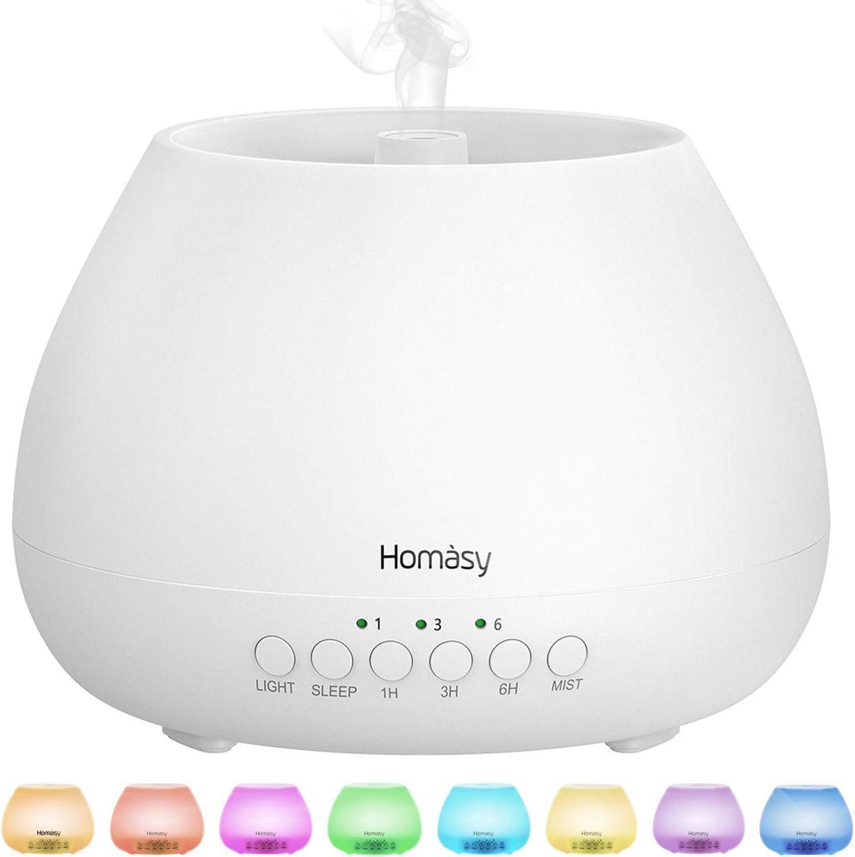 Homasy 500ml Difusor de Aromas, Difusor Aromaterapia con Luz Nocturna de 8 Colores, 21dB Humidificador Aceites Esenciales Ultrasónico, Humidificador Bebés con Lámpara Fragante sin BPA, Blanco