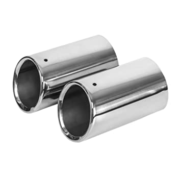 KT SUPPLY Tubo De Escape, acero inoxidable, extremidad de 80mm, longtitud de 135mm, 2 Piezas