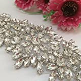 1pcs Bridal Dress Wedding Applique Belt Diamante Sweet Heart Rhinestone Sash Rhinestones Pearls Crys