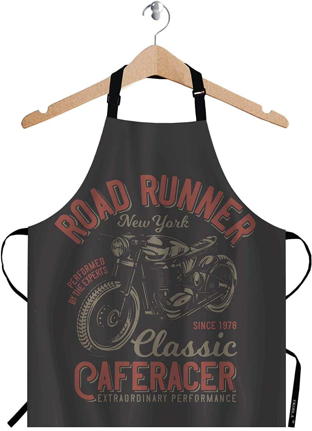 EKOBLA Road Runner Aprons Vintage Retro Style Motorcycle New York Classic Cafe Racer Waterproof Resistant Chef Cooking Kitchen BBQ Adjustable Aprons for Women Men 27x31 Inch