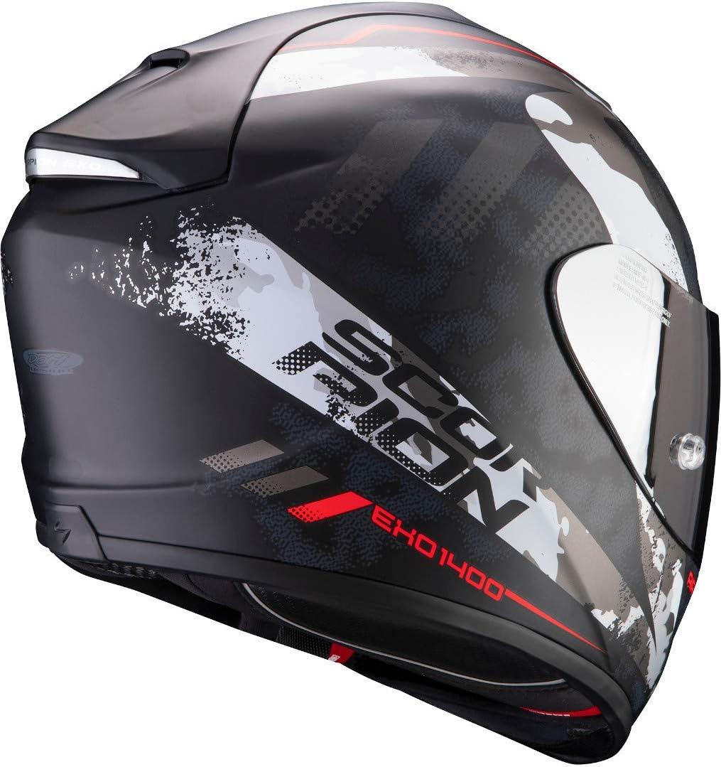Scorpion Unisex Exo 1400 Air Sylex Motorradhelm Matt Black Silver Red M Auto