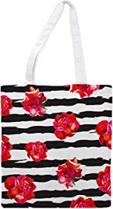 Womens Tote bag - Strips with flowers - - Sports Gym Lunch Yoga Shopping Travel Bag Washable - 1.47X0.98 Ft