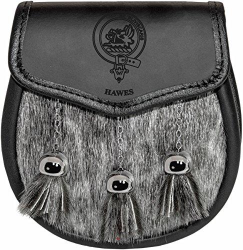 Hawes Semi Dress Sporran Fur Plain Leather Flap Scottish Clan Crest