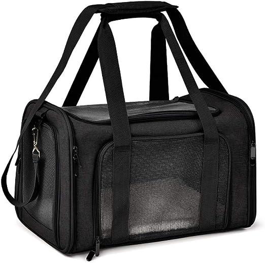 LCK Pet Carrier Cat Dog Backpack Messenger Car Seat Basket Dog Booster Seat Soft Pet Travel Protector Dog Bags,Black: Amazon.es: Hogar