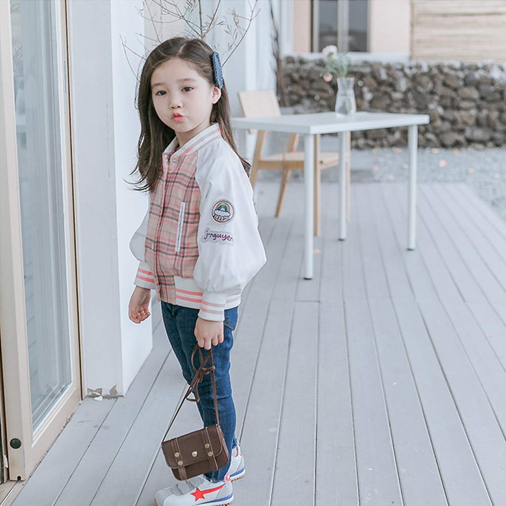 FamyFirst Girls Jacket Long Sleeved with Rainbow Design and Collarless Elastic Cuff Vertical Chest Pocket Baseball Jacket