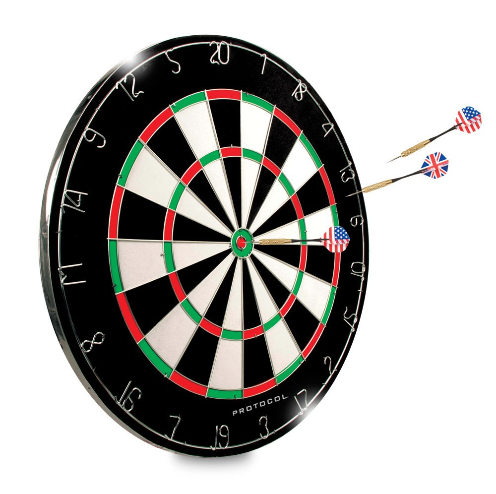 Dartboard - 18'' Regulation Sized Tournament Dartboard | 2 Sided - Classic 20 Point & Circular Bulls-Eye | 6 Steel Tipped Brass Darts design for Long Life and Flawless Performance | Great for Basement by Protocol