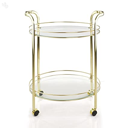 Royal Oak Brass Service Trolley (White)