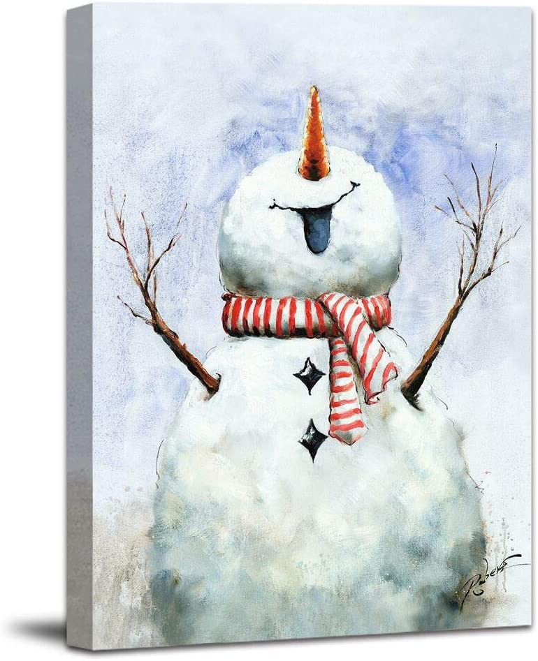 Hand Painted Snowman Wall Art Painting – Christmas Picture Canvas Stretched and Framed Ready to Hang for Wall Decor 20x28inch
