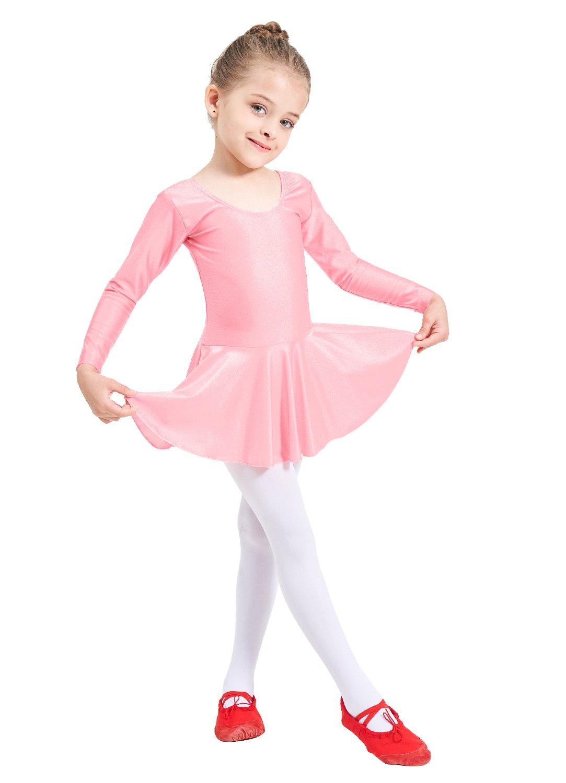 Ensnovo de Vestido para de Ballet de Manga Larga para Spandex Niñas ...