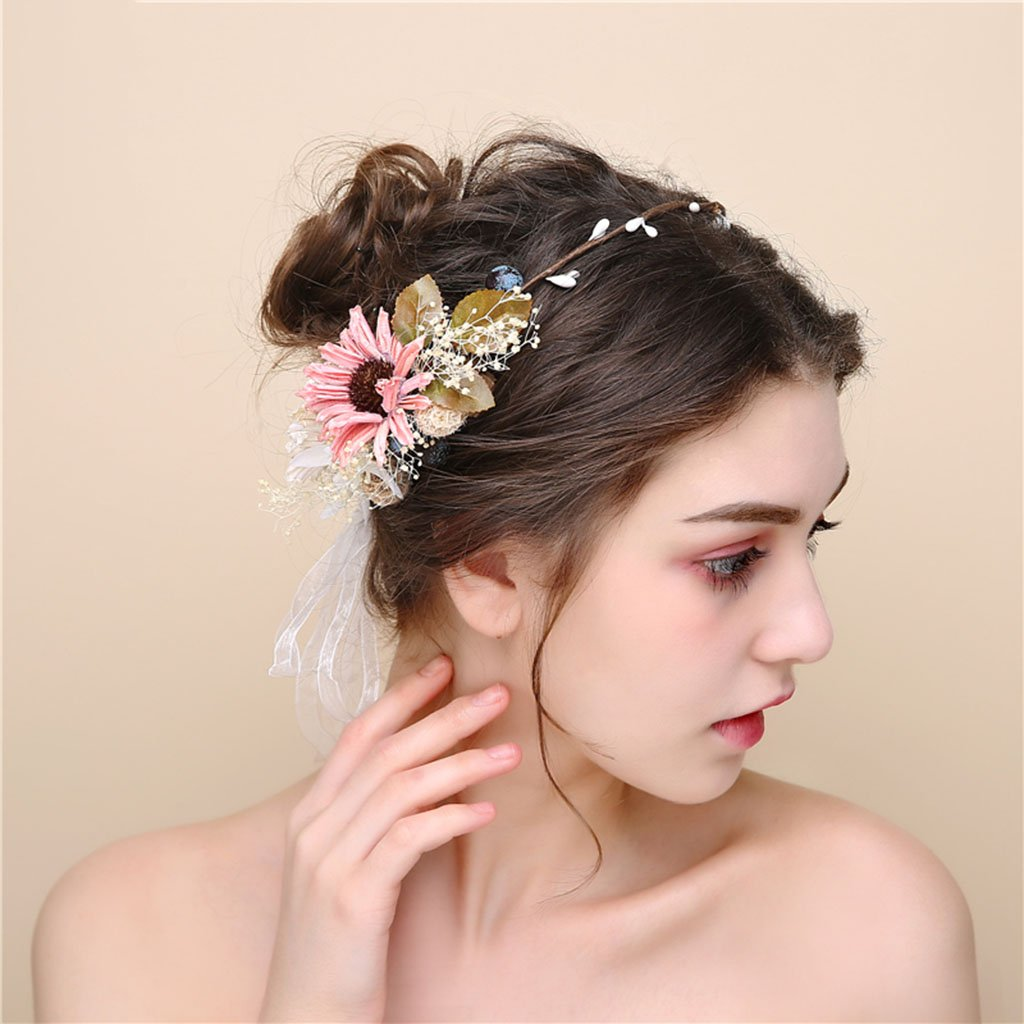 Wreath Flower, Headband Flower Garland Handmade Wedding Bride Party Ribbon Headband Wristband Hairband (Color : Multi-Colored)