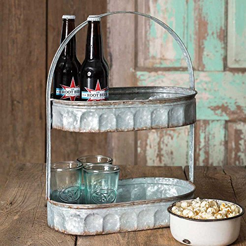 Galvanized Steel Industrial Country Corrugated Oval Tray 2 Tier - Gifts Indie