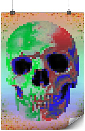Wellcoda Pixel Métal Dur à Cuire Crâne Affiche Festival A0