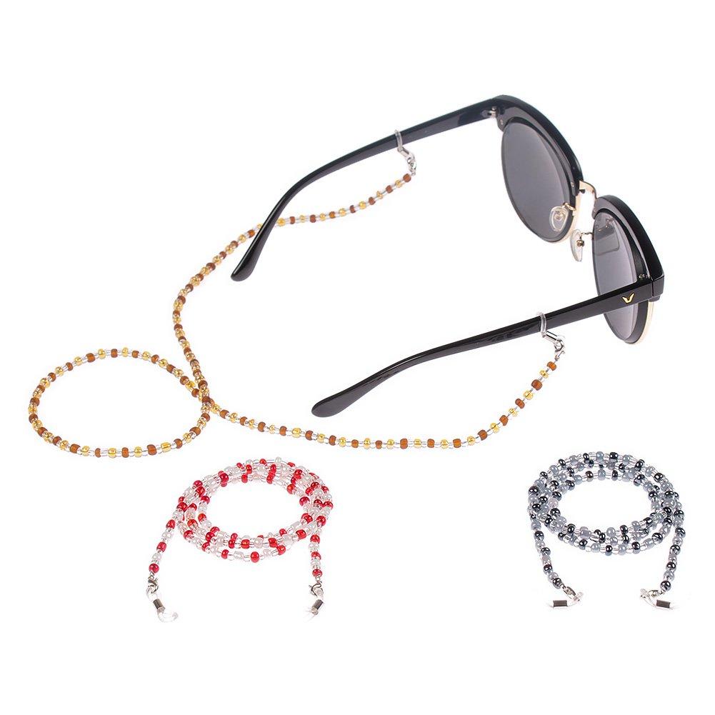 Soleebee 3 Pièces Corde Chaîne Attache pour Lunettes Porte-Lunettes avec  Perles en Cristal Artificielle 2a8c96e71b6a
