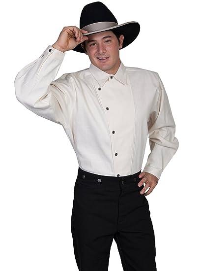 Steampunk Mens Shirts Osnaburg Button Front Shirt  AT vintagedancer.com