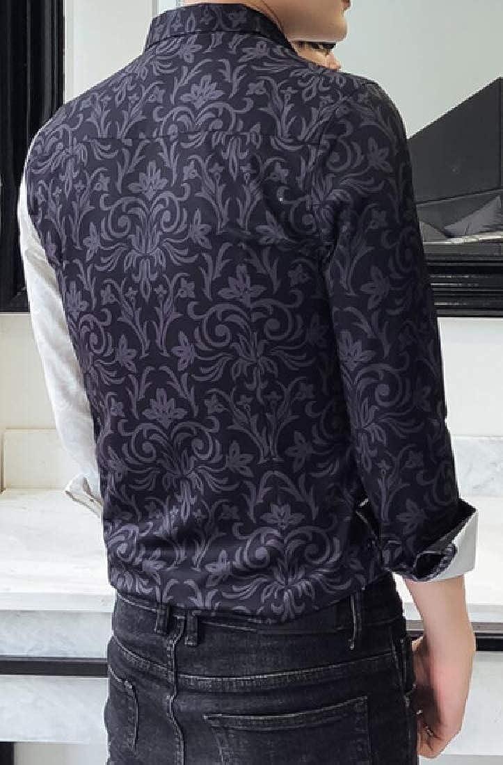 BYWX Men Club Slim Fit Retro Floral Printed Long Sleeve Button Down Blouse Shirt Tops
