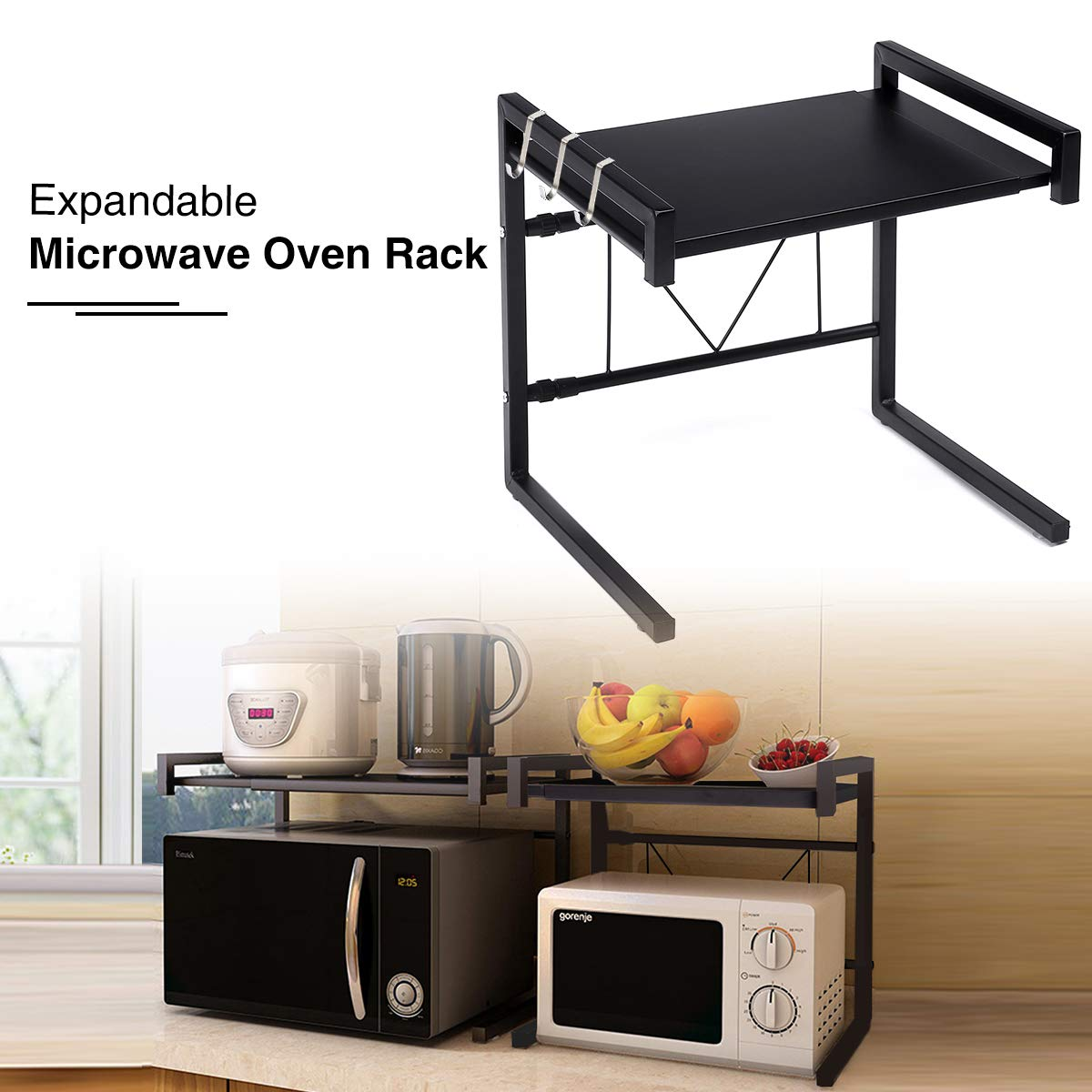 "GEMITTO Microwave Oven Rack, Expandable Carbon Steel Microwave Shelf Kitchen Counter Shelf 3 Hooks, 55lbs Weight Capacity (14.17""x16.54"") Black"