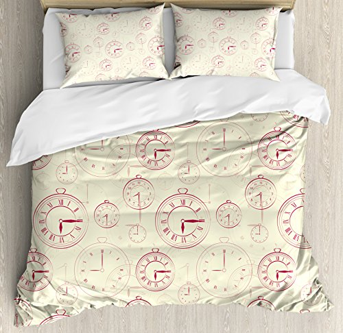 (Ambesonne Clock Duvet Cover Set King Size, Vintage Watches with Roman Digits Antique Machine Time Pattern Illustration, Decorative 3 Piece Bedding Set with 2 Pillow Shams, Magenta Yellow)