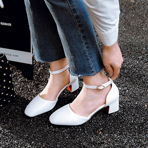 Ankle Chunky DOrsay Strap Shoes White Heel Elegant Womens Charm Foot Mid gtx0T0Aw