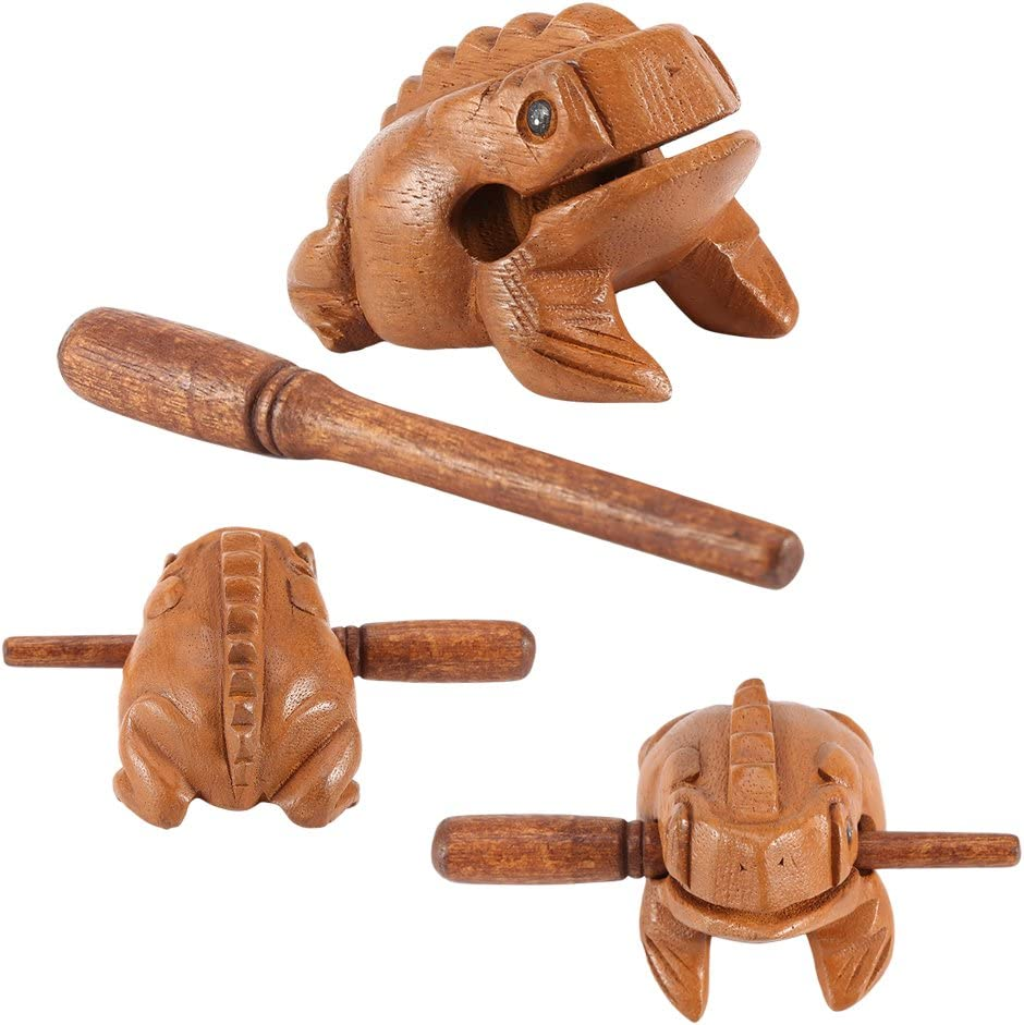 15.6CM GLOGLOW Thailand Traditional Craft Wooden Lucky Frog Croaking Musical Instrument Home Office Decor