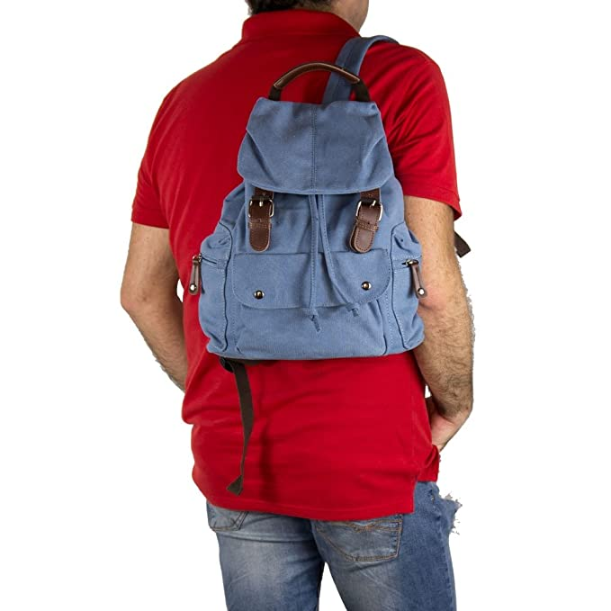 Zaino uomo tela vintage zainetto sportivo jeans escursionismo da viaggio  moto scuola con inserti in pelle e tasche frontali in Tessuto Azzurro  H30xL35xP15  ... df90480d930