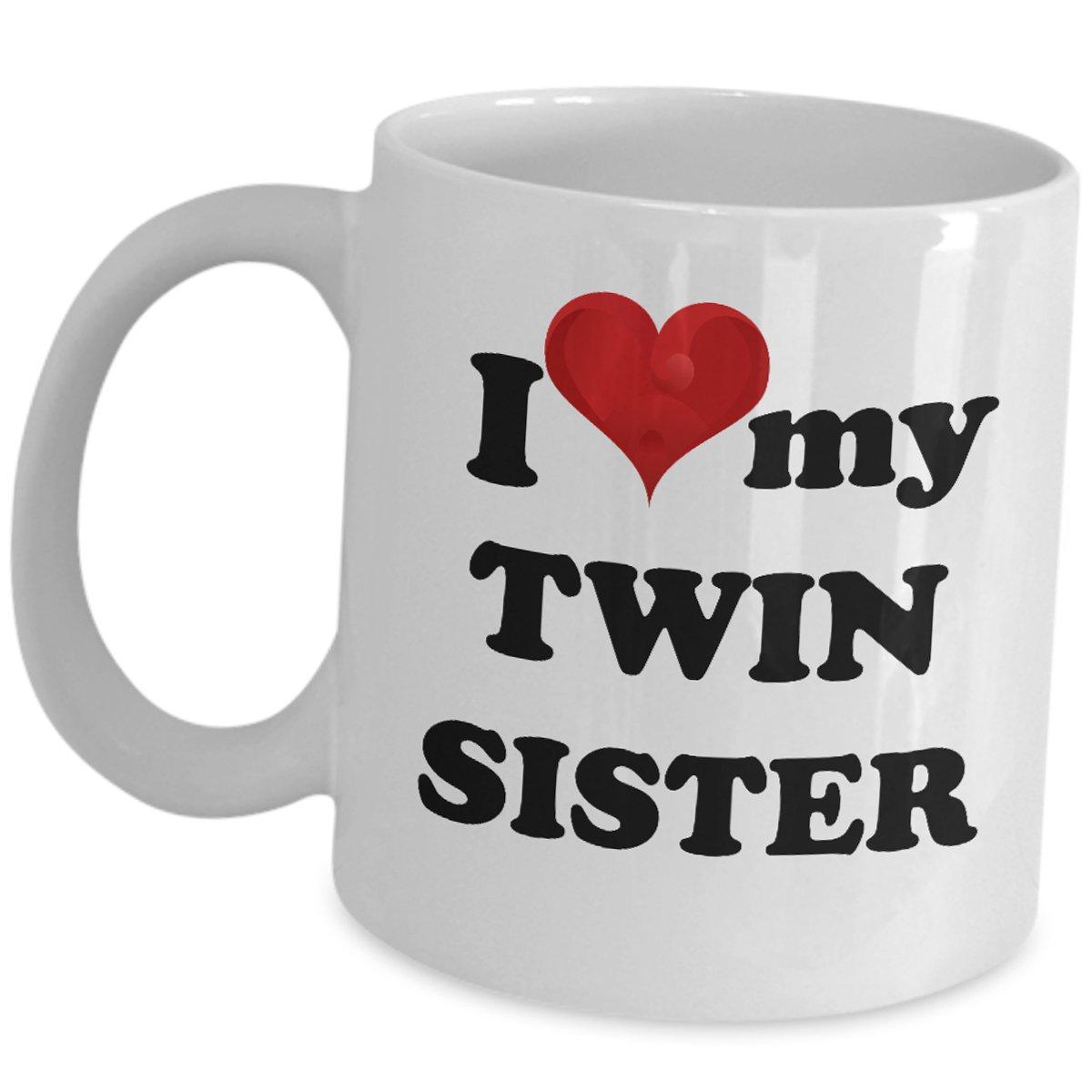 I Love My Twin Sister Coffee Mug Funny Cute Cup Gift