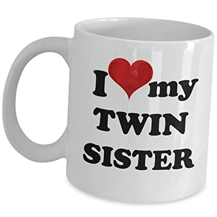 I Love My Twin Sister Coffee Mug Funny Cute Cup Gift