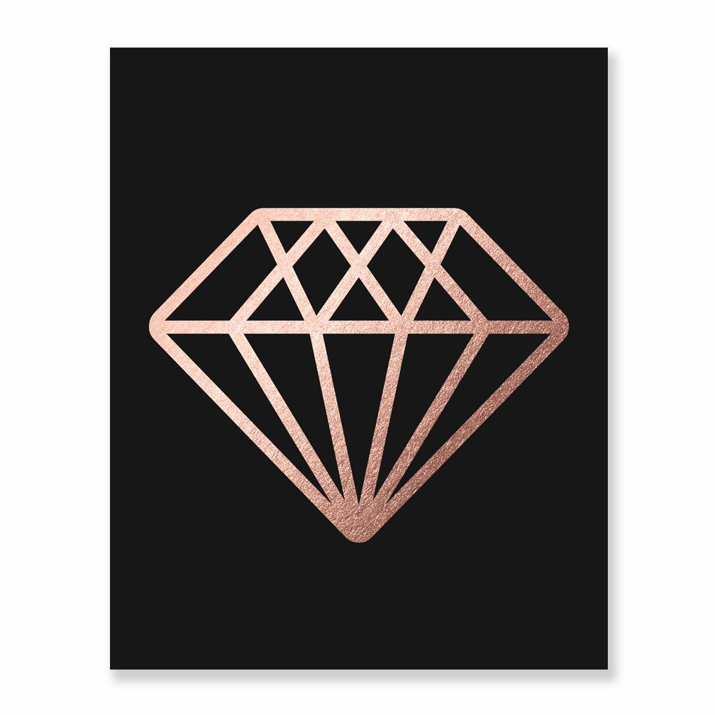 Amazon Com Diamond Rose Gold Foil Print Wall Art Bride Engaged Gift Fiance Home Decor Metallic Gemstone Black Poster 8 Inches X 10 Inches B12 Handmade