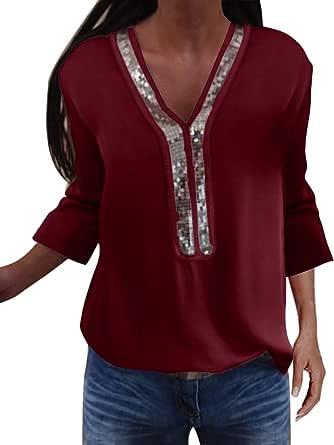 YOINS - Blusa de manga larga con estampado de camuflaje y escote de pico con cordones