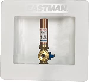 Eastman 60240 Pre-assembled Ice Maker Outlet Box, 1/2-Inch CPVC with Installed 1/4-Turn Ball Valve and Hammer Arrester, White