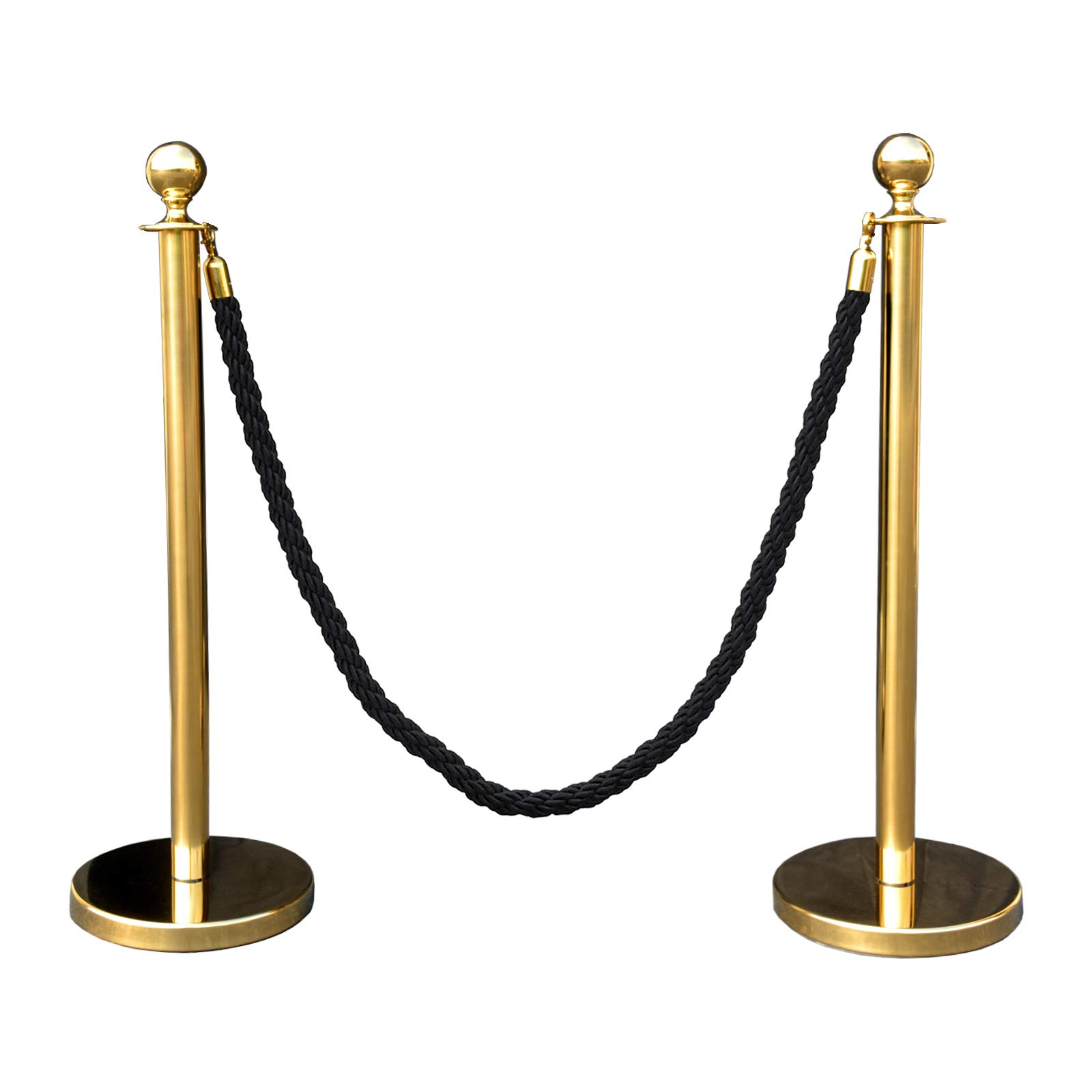 Gold Crown Top Decorative Rope Safety Queue Stanchion Barrier in 3 pcs Set, VIP Crowd Control (60'' Black Braided)