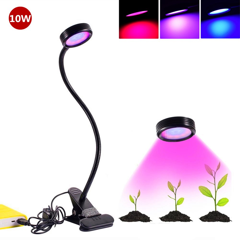 LED Plant Grow Light , Florally Clip-On 10W Adjustable 2 Level Dimmable Desktop Grow Lights Lamp Bulb Clamp Flexible Gooseneck For Indoor Plants Hydroponics Greenhouse Gardening Computers Desk Office Task Lighting USB Bedside Lamp (Adapter Not Included)