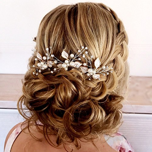 Fairy Moda Bridal Hair Pins Leaf Wedding Hair Accessories Boho Hair Clips with Simulated Pearl (Set of 3)
