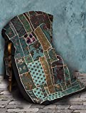 Blue HandmadeGujarat Patchwork Tapestry Bedspread
