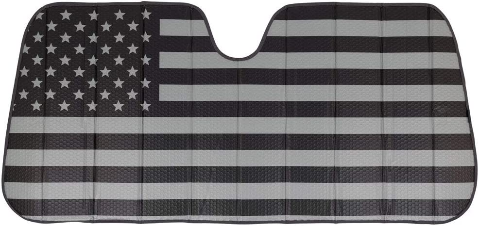 BDK AS-784 Black White/Gray American Flag-Front Windshield Shade-Accordion Folding Auto Sunshade for Car Truck SUV-Blocks UV Rays Sun Visor Protector-Keeps Your Vehicle Cool-58 x 28 Inch