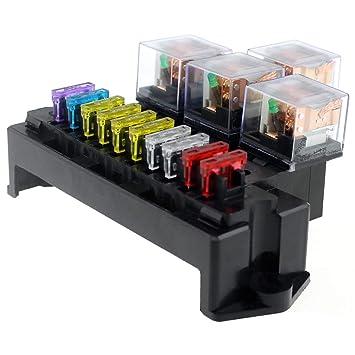 Amazon.com: TOOGOO 10 Way Fuse Box 5-Pin Socket Base Relay ... on