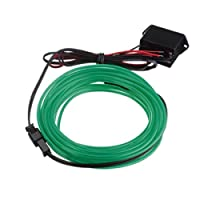 SODIAL(R) 3M EL Cable DC 12V Flexible Neon Lights for Christmas Parties Rave Parties Halloween Costumes Retail Shop Display (Green)